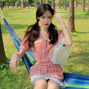 Fashion suit Summer 2021 S,M,L Plaid top piece, plaid skirt piece 18-25 years old 30% and below