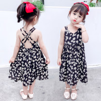 Dress black female Other / other Size 90 (height 78-87cm, age 1-2), size 100 (height 88-97cm, age 2-3), Size 110 (height 98-107cm, age 3-4), Size 120 (height 108-117cm, age 4-5), Size 130 (height 118-130cm, age 5-6) Other 100% summer princess Skirt / vest Solid color cotton Lotus leaf edge Class B