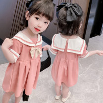Dress Pink female Other / other Size 90 (height 78-87cm, age 1-2), size 100 (height 88-97cm, age 2-3), Size 110 (height 98-107cm, age 3-4), Size 120 (height 108-117cm, age 4-5), Size 130 (height 118-130cm, age 5-6) Other 100% summer princess Short sleeve Solid color cotton Lotus leaf edge Class B