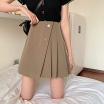 Women's large Summer 2021 Black, Khaki Large XL, large XXL, large XXL, large L skirt commute Solid color Korean version Polyester, acrylic 18-24 years old Button 71% (inclusive) - 80% (inclusive) Short skirt Cotton 71% - 80%