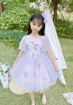 Dress Purple Butterfly princess skirt 9015 , Blue butterfly princess skirt 9015 female Other / other The recommended height is 95-105cm for Size 110, 106-115cm for Size 120, 120cm for Size 130, 125-130cm for size 140 and 135-140cm for size 150 Other 100% summer princess Short sleeve other Netting