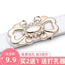 Belt / belt / chain Pu (artificial leather) White, black, red female belt Versatile Single loop Youth, youth, middle age Smooth button Flower design soft surface 2.3cm alloy Heavy line decoration H8II