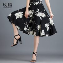Casual pants Black print, red print M,L,XL,2XL,3XL,4XL Summer of 2019 Cropped Trousers Wide leg pants High waist commute routine 30-34 years old SQH9875 other Korean version Three dimensional cutting