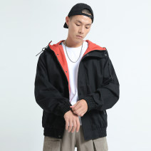 Jacket Other / other Youth fashion Khaki, black M,L,XL,2XL routine easy Other leisure autumn Long sleeves Wear out Hood Japanese Retro youth routine Zipper placket 2019 Rubber band hem Solid color Color matching