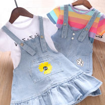 Dress female Other / other 90cm,100cm,110cm,120cm,130cm Cotton 100% summer Short sleeve stripe cotton Pleats Class B 2 years old, 3 years old, 4 years old, 5 years old, 6 years old, 7 years old Chinese Mainland