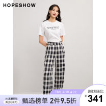 Casual pants White background black grid 902 white background black grid 902 (pre-sale) white background black grid 902 (pre-sale) 1 S M L XL Spring 2021 trousers Wide leg pants Natural waist Versatile routine 25-29 years old 51% (inclusive) - 70% (inclusive) Hopeshow  polyester fiber