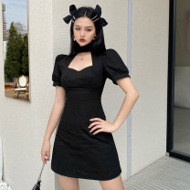 Dress Spring 2021 black S,M,L Short skirt singleton  Short sleeve street stand collar High waist Solid color Socket A-line skirt routine Others 18-24 years old Type A OMMAD10248 91% (inclusive) - 95% (inclusive) polyester fiber Europe and America