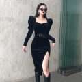 Dress Winter 2020 black S,M,L Mid length dress singleton  Long sleeves commute square neck High waist Solid color Socket One pace skirt Others 18-24 years old Type H court OMD8931V0J 81% (inclusive) - 90% (inclusive) polyester fiber