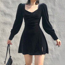 Dress Winter 2020 Black, red S,M,L Short skirt singleton  Long sleeves street square neck High waist Solid color Socket A-line skirt routine Others 18-24 years old Type A 91% (inclusive) - 95% (inclusive) polyester fiber Europe and America