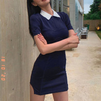 Dress Summer 2021 blue S,M,L Short skirt singleton  Short sleeve street Polo collar High waist other zipper One pace skirt routine Others 18-24 years old Type H Panel, zipper LXMLD01154 91% (inclusive) - 95% (inclusive) other cotton Europe and America