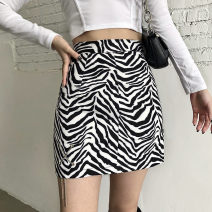 skirt Autumn 2020 S,M,L Black and white Short skirt street High waist A-line skirt Solid color Type A 18-24 years old OMD8355W0J 51% (inclusive) - 70% (inclusive) other polyester fiber