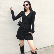 Dress Winter 2020 black S,M,L Short skirt singleton  Long sleeves street V-neck High waist Solid color Single breasted A-line skirt routine 18-24 years old Type A OMD4430W0G 31% (inclusive) - 50% (inclusive) knitting cotton Europe and America