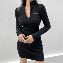 Dress Autumn 2020 black S,M,L Short skirt singleton  Long sleeves street square neck High waist letter zipper One pace skirt routine Others 18-24 years old Type H 91% (inclusive) - 95% (inclusive) cotton Europe and America