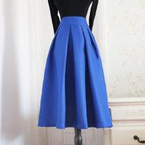 skirt Autumn 2020 S (waist 65cm for 88-98 kg), m (waist 69cm for 100-110 kg, l (waist 74cm for 112-120 kg), XL (waist 80cm for 128-140 kg), XXL (waist 84cm for 145-155 kg) Blue, red, rose Mid length dress street High waist Fluffy skirt Solid color polyester fiber Europe and America