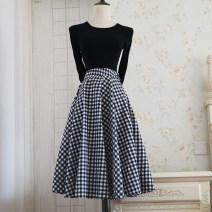 skirt Winter 2020 S,M,L,XL Black and white check Mid length dress Retro Natural waist Umbrella skirt lattice cotton