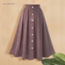 skirt Autumn 2020 S / M (elastic waist for 95-110kg, L / XL (elastic waist for 110-130kg), XL / XXL (elastic waist for 130-150kg) Black, dark blue, dark pink Mid length dress street High waist A-line skirt Solid color polyester fiber Europe and America