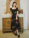 Dress Summer 2021 Picture color S,M,L Mid length dress singleton  Short sleeve commute square neck High waist Big flower zipper Big swing puff sleeve Type A Retro Embroidery