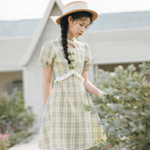 Dress Summer 2020 Orange, green S,M,L Short skirt singleton  Short sleeve commute stand collar High waist lattice zipper A-line skirt other Others 25-29 years old Type A Retro Y1073 31% (inclusive) - 50% (inclusive)