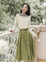 Fashion suit Winter 2020 S,M,L Apricot top with green skirt 18-25 years old
