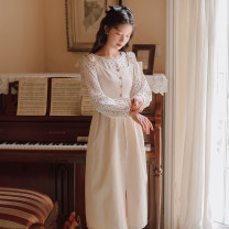 Dress Autumn 2020 Apricot S,M,L Mid length dress Two piece set Long sleeves commute Crew neck Dot Socket A-line skirt other Others 18-24 years old Type A literature Chiffon other