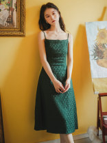 Dress Summer 2021 Dark green S,M,L Mid length dress singleton  Sleeveless commute One word collar middle-waisted Solid color zipper A-line skirt camisole 18-24 years old Type A Retro jacquard weave
