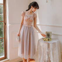 Dress Summer 2021 Purple Pink S,M,L Mid length dress singleton  Short sleeve commute square neck High waist Solid color zipper A-line skirt puff sleeve 18-24 years old Type A Retro Auricularia auricula, splicing, gauze net 31% (inclusive) - 50% (inclusive)