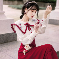Dress Spring 2021 Picture color (do not soak and clean) S,M,L,XL longuette singleton  Long sleeves commute Doll Collar High waist Decor Three buttons A-line skirt Princess sleeve 18-24 years old Type A literature Bows, ruffles, embroidery 6797#