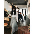 skirt Summer 2021 S,L,M Grey, grey pre-sale Mid length dress commute High waist High waist skirt Solid color Type A XL192294Q Frenulum Retro