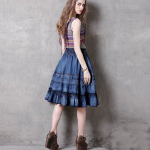 skirt Spring 2017 M, L Tannin blue Middle-skirt commute Natural waist Ruffle Skirt Solid color Type A 25-29 years old 51% (inclusive) - 70% (inclusive) Denim cotton Retro