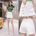 skirt Summer 2020 S,M,L,XL,2XL,3XL Apricot, white, red, black Short skirt Versatile High waist A-line skirt Solid color Type A 18-24 years old Denim cotton