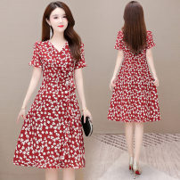 Dress Summer 2021 Black, red L,XL,2XL,3XL,4XL Mid length dress singleton  Short sleeve commute middle-waisted Decor Socket A-line skirt Others 35-39 years old Korean version printing other polyester fiber