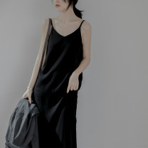 Dress Summer 2020 black S,M,L Mid length dress singleton  Sleeveless commute V-neck Loose waist Solid color Socket other other camisole Type H Simplicity backless More than 95% Chiffon other