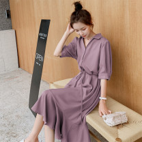Dress Summer 2020 Light purple, black, aroma yellow, haze blue S. M, l, XL, 2XL, [free shipping insurance for placing an order], [priority delivery for collection and shopping cart], [please contact customer service if you need the same long sleeve] Mid length dress singleton  Short sleeve commute