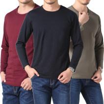 T-shirt Business gentleman thick 170/M 175/L 180/XL 185/XXL 190/XXXL Garloocs / Dragonair Long sleeves Crew neck easy daily autumn Cotton 100% middle age routine Autumn 2016 Solid color
