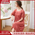Nightdress Jindaier L 90-120 kg, XL 125-140 kg, XXL 145-160 kg, 3XL 165-180 kg luxurious Short sleeve Leisure home longuette summer Solid color middle age Crew neck cotton Embroidery Modal fabric