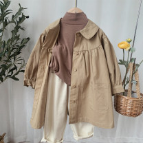 Windbreaker 80cm,90cm,100cm,110cm,120cm,130cm Other / other female spring and autumn Korean version nothing Single breasted Medium length Other 100% Solid color other No belt Lapel crew neck other