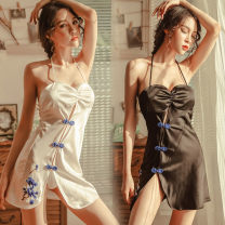Nightdress Other / other Black [tie neck nightdress + T pants], white [tie neck nightdress + T pants] Average size [80-120 Jin] confidential delivery Sleeveless Polyester (polyester) product