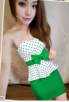Dress Summer of 2019 Black, rose, green Average size Short skirt singleton  Sleeveless commute V-neck middle-waisted Dot Socket One pace skirt Breast wrapping Korean version Bowknot, backless, stitching, three-dimensional decoration, Sequin, 3D 81% (inclusive) - 90% (inclusive) cotton