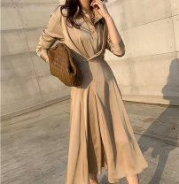 Dress Spring 2021 Black, apricot S,M,L longuette singleton  Long sleeves commute V-neck High waist Solid color Socket Big swing routine 18-24 years old Type A Ol style