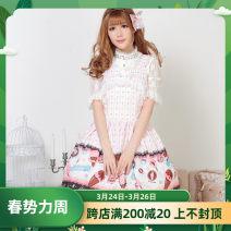 Dress Spring of 2018 Pink S,M,L,XL,XS Middle-skirt singleton  Sweet High waist Decor Princess Dress straps Key Bows, ruffles, lace More than 95% knitting polyester fiber Lolita