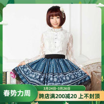 skirt Spring 2016 XS,S,M,L,XL,2XL blue Short skirt Rococo Natural waist Pleated skirt More than 95% polyester fiber