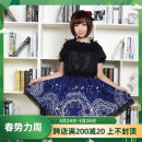 skirt Summer 2016 XS,S,M,L,XL,2XL Dark blue, black skirt, 2 layers Short skirt dream High waist Pleated skirt other More than 95% polyester fiber Bowknot, ruffle, embroidery, fold, Auricularia auricula, Gouhua, hollowed out, lace