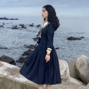 Dress Spring 2021 Navy Blue S [within 90 Jin], m [90-105 Jin], l [105-120 Jin], XL [120-135 Jin] Mid length dress singleton  Long sleeves Other Bow, zipper, solid 30% and below