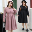 Dress Autumn of 2019 Pink Black XL XXL XXXL 4XL Mid length dress singleton  Long sleeves commute Admiral High waist Solid color Socket A-line skirt routine 30-34 years old Bdodo / loser Korean version More than 95% polyester fiber Polyester 100% Pure e-commerce (online only)