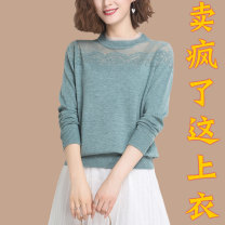 Middle aged and old women's wear Spring 2021 Pink camel apricot green black M recommended 80-105 kg, l recommended 106-118 kg, XL recommended 119-130 kg, XXL recommended 131-140 kg, 3XL recommended 141-155 kg, 4XL recommended 156-170 kg fashion T-shirt easy singleton  Solid color 40-49 years old thin