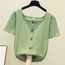 Women's large Summer 2020 T-shirt singleton  commute easy thin Socket Short sleeve other square neck routine cotton other other other
