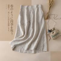 skirt Summer 2020 Average size Mid length dress Versatile High waist A-line skirt Solid color Type A More than 95% hemp