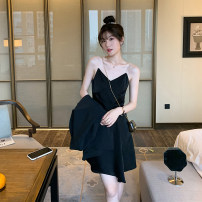 Dress Spring 2021 Yellow, black, white, purple, pink M, L Mid length dress singleton  Sleeveless commute V-neck High waist Solid color zipper A-line skirt camisole Type X Dreamers Korean version Chain, zipper MD2030383 31% (inclusive) - 50% (inclusive)