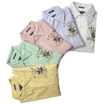 shirt Sky blue, pink, cyan, white, yellow 0,4,6,8,10,12,14,16,00,0 (as shown in the figure), 8 (as shown in the figure), chest 94 (as shown in the figure), chest 104cm, chest 108CM, chest 108 (as shown in the figure) cotton 96% and above Long sleeves street Regular square neck Single row multi button