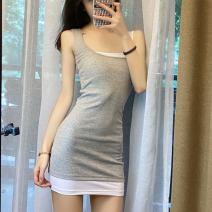 Dress Autumn 2020 Black, gray S, M Short skirt singleton  Sleeveless commute Crew neck middle-waisted Solid color Socket One pace skirt routine camisole 18-24 years old backless cotton